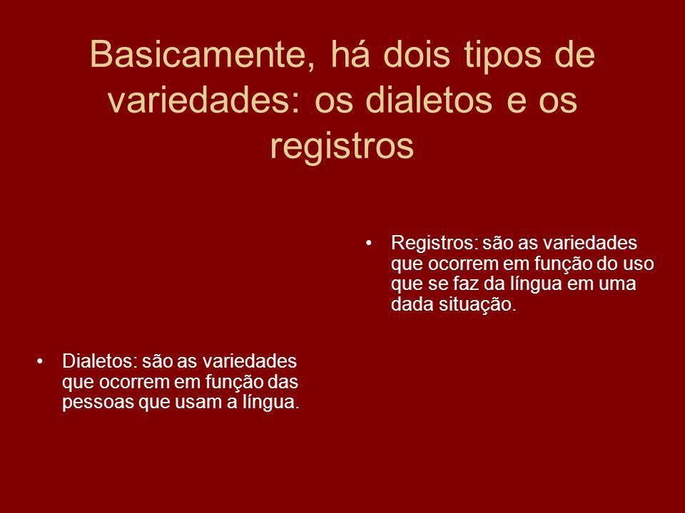 Basicamente, há dois tipos de variedades: os dialetos e os registros Dialetos: são as variedades que ocorrem em função das pessoas que usam a língua.