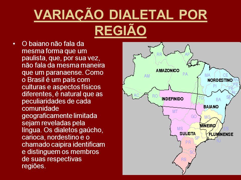 VARIAÇÃO DIALETAL POR REGIÃO O baiano não fala da mesma forma que um paulista, que, por sua vez, não fala da mesma maneira que um paranaense. Como o B
