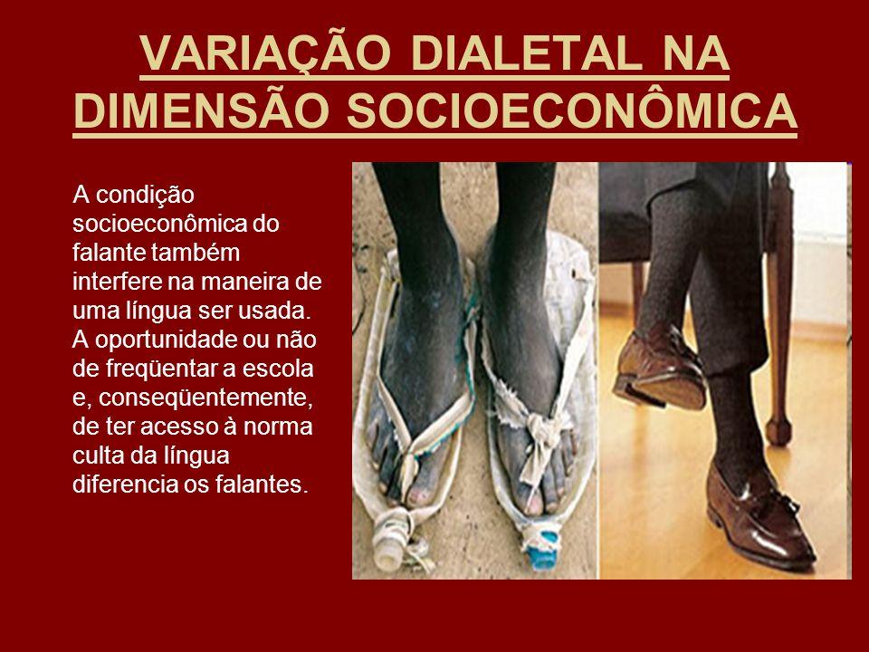 VARIAÇÃO DIALETAL NA DIMENSÃO SOCIOECONÔMICA A condição socioeconômica do falante também interfere na maneira de uma língua ser usada. A oportunidade