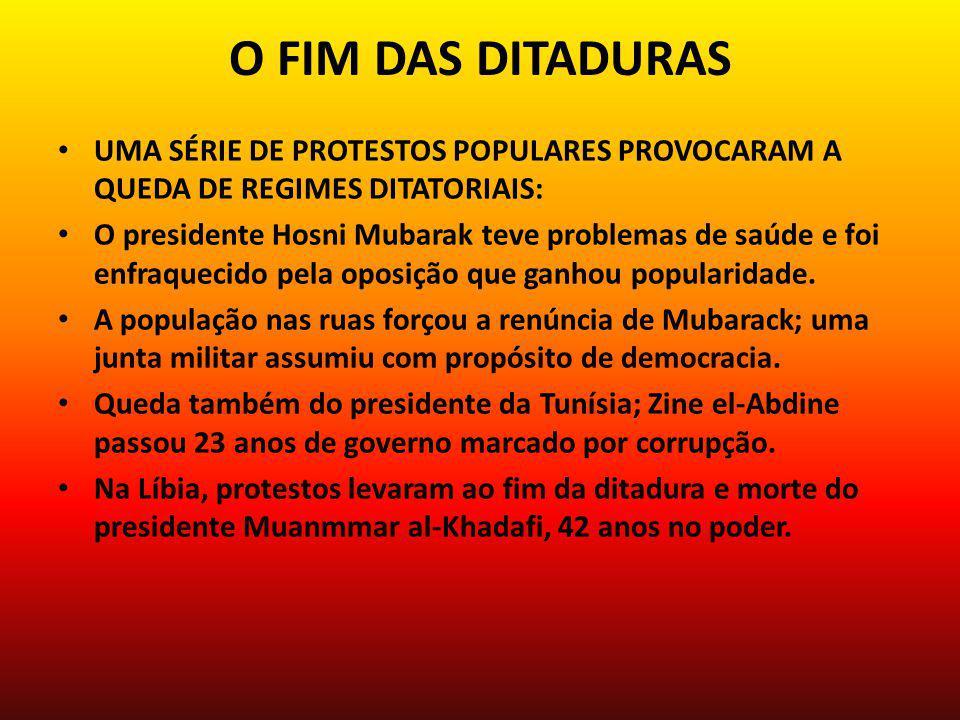 O FIM DAS DITADURAS UMA SÉRIE DE PROTESTOS POPULARES PROVOCARAM A QUEDA DE REGIMES DITATORIAIS: O presidente Hosni Mubarak teve problemas de saúde e foi enfraquecido pela oposição que ganhou popularidade.