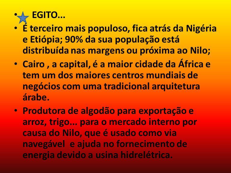 EGITO... É terceiro mais populoso, fica atrás da Nigéria e Etiópia; 90% da sua população está distribuída nas margens ou próxima ao Nilo; Cairo, a cap
