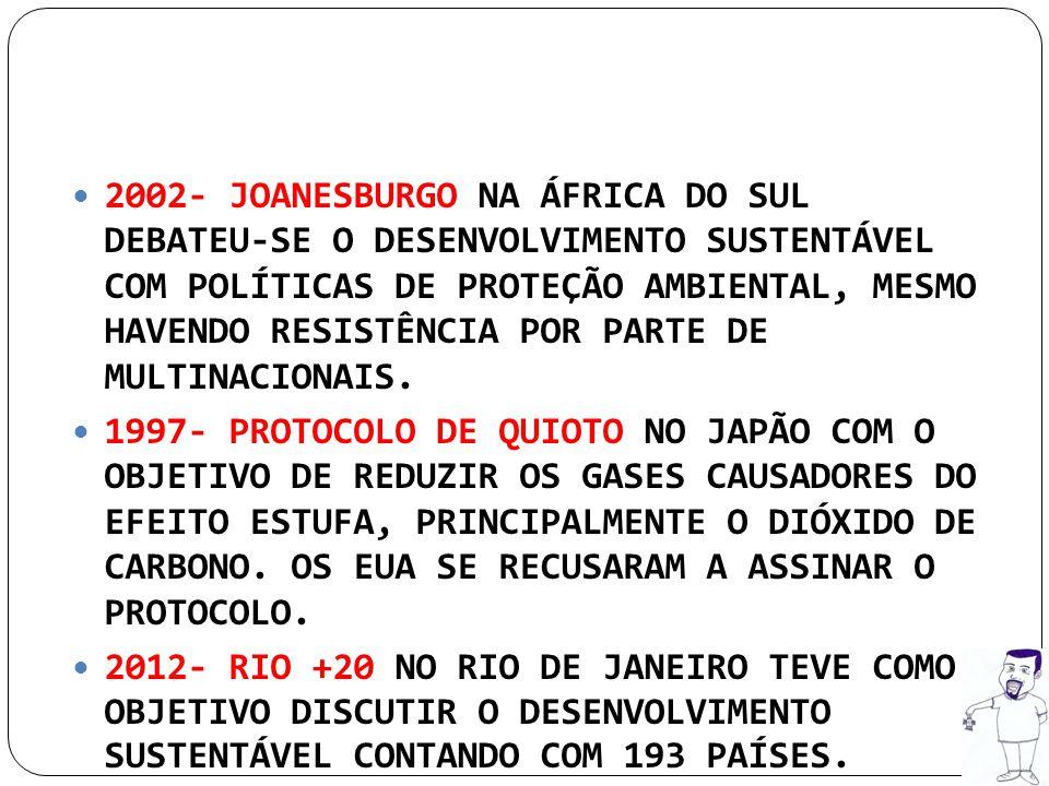2002- JOANESBURGO NA ÁFRICA DO SUL DEBATEU-SE O DESENVOLVIMENTO SUSTENTÁVEL COM POLÍTICAS DE PROTEÇÃO AMBIENTAL, MESMO HAVENDO RESISTÊNCIA POR PARTE D