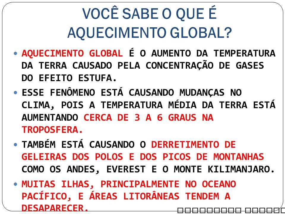 VOCÊ SABE O QUE É AQUECIMENTO GLOBAL? AQUECIMENTO GLOBAL É O AUMENTO DA TEMPERATURA DA TERRA CAUSADO PELA CONCENTRAÇÃO DE GASES DO EFEITO ESTUFA. ESSE