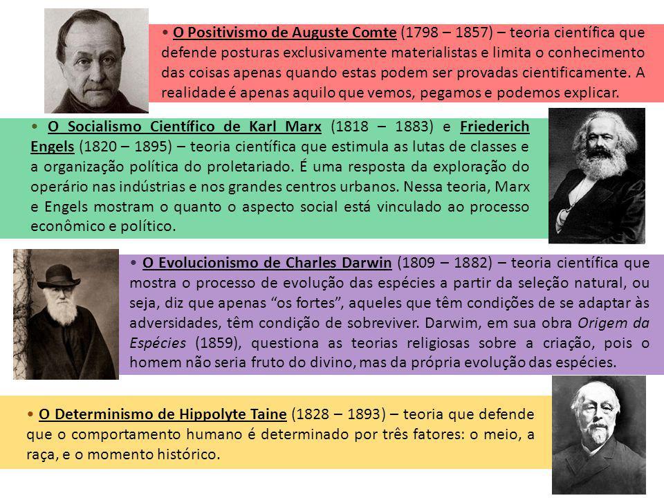 O Positivismo de Auguste Comte (1798 – 1857) – teoria científica que defende posturas exclusivamente materialistas e limita o conhecimento das coisas apenas quando estas podem ser provadas cientificamente.