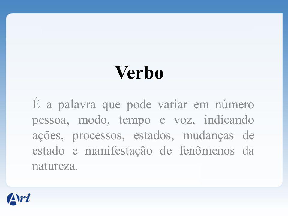 Verbo É a palavra que pode variar em número pessoa, modo, tempo e voz, indicando ações, processos, estados, mudanças de estado e manifestação de fenôm