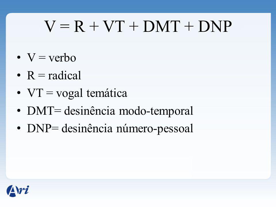 V = R + VT + DMT + DNP V = verbo R = radical VT = vogal temática DMT= desinência modo-temporal DNP= desinência número-pessoal