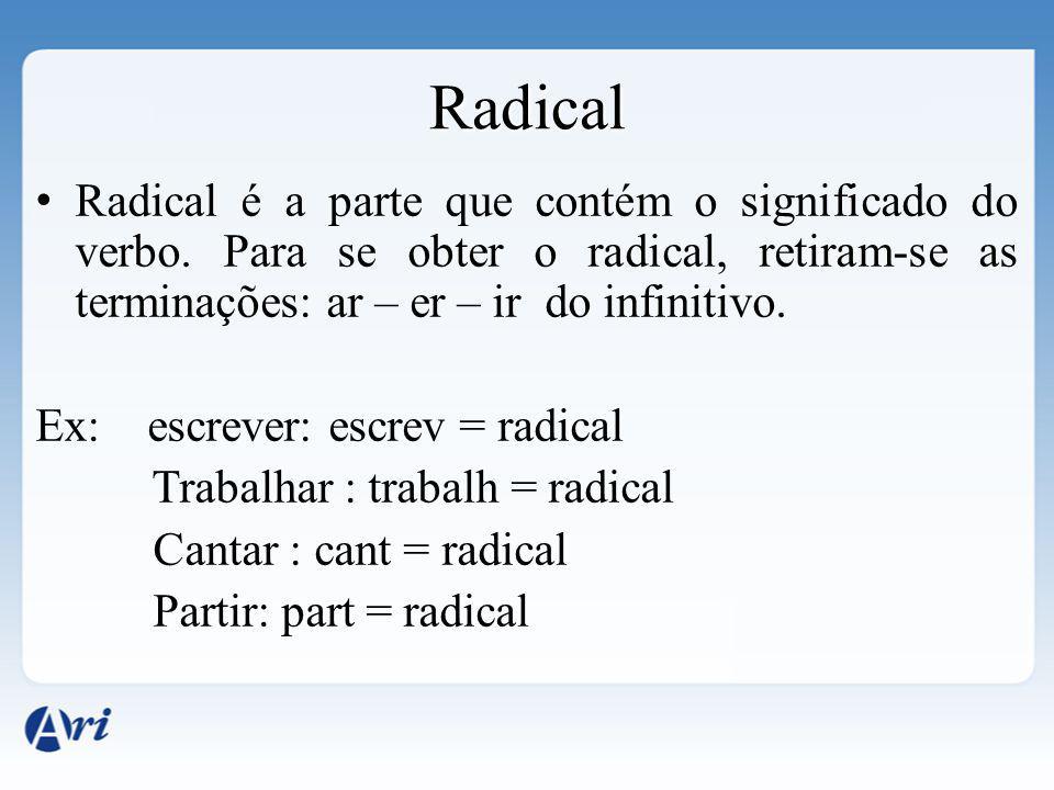 Radical Radical é a parte que contém o significado do verbo. Para se obter o radical, retiram-se as terminações: ar – er – ir do infinitivo. Ex: escre