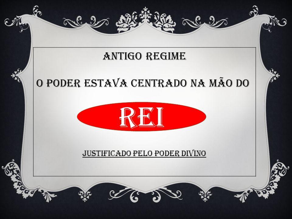 ANTIGO REGIME O PODER ESTAVA CENTRADO NA MÃO DO Justificado pelo poder divino REI