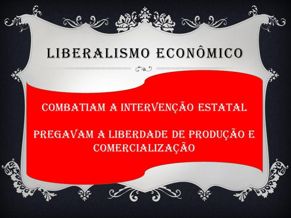 LIBERALISMO ECONÔMICO Combatiam a intervenção estatal Pregavam a liberdade de produção e comercialização