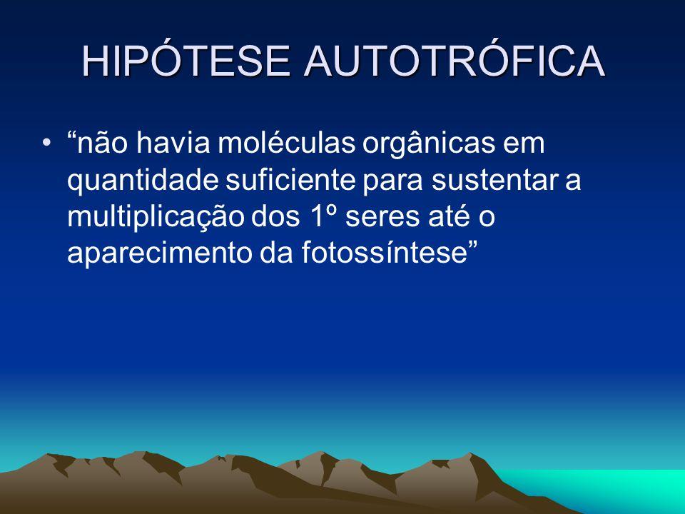 HIPÓTESE AUTOTRÓFICA não havia moléculas orgânicas em quantidade suficiente para sustentar a multiplicação dos 1º seres até o aparecimento da fotossín