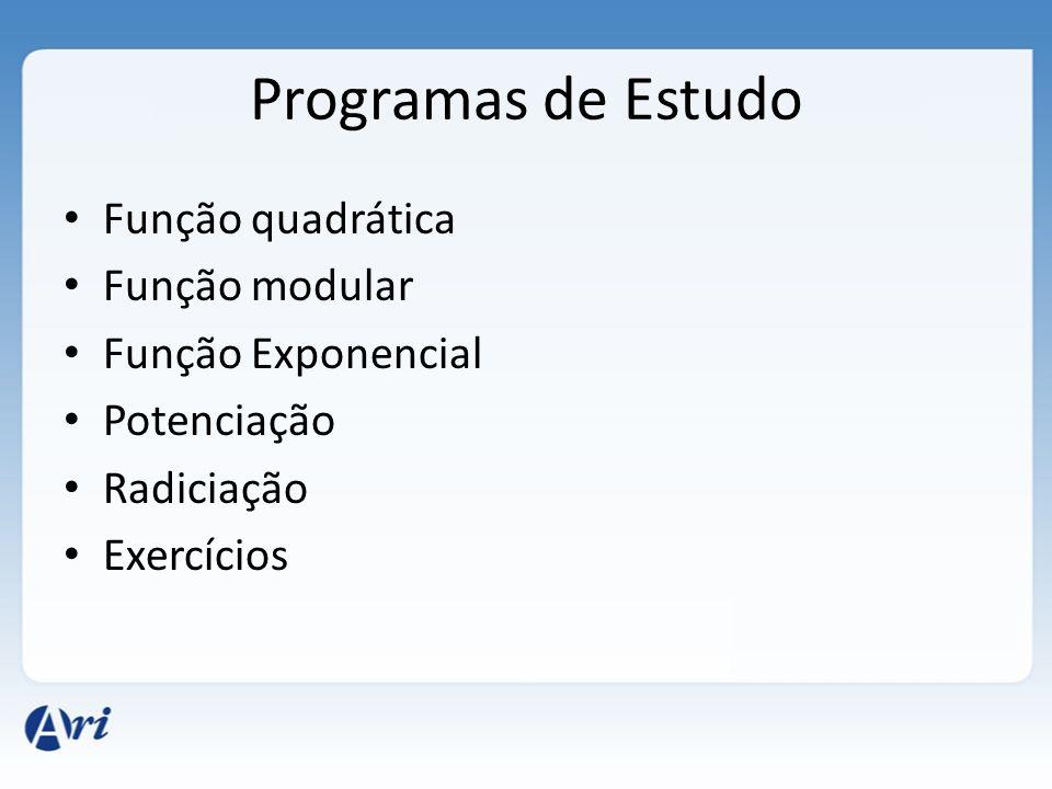 Programas de Estudo Função quadrática Função modular Função Exponencial Potenciação Radiciação Exercícios