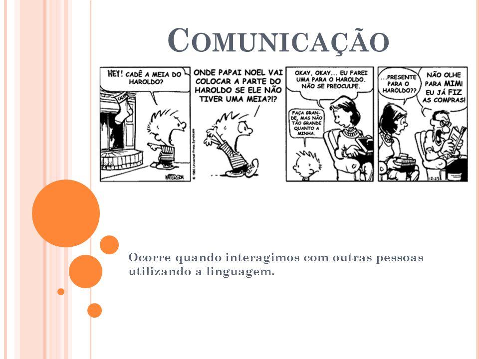 C OMUNICAÇÃO Ocorre quando interagimos com outras pessoas utilizando a linguagem.