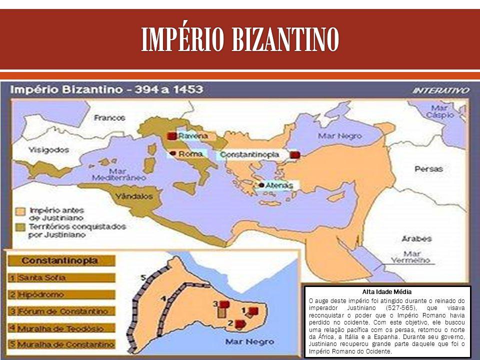 Alta Idade Média O auge deste império foi atingido durante o reinado do imperador Justiniano (527-565), que visava reconquistar o poder que o Império