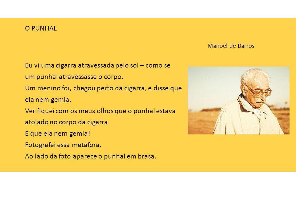 O PUNHAL Manoel de Barros Eu vi uma cigarra atravessada pelo sol – como se um punhal atravessasse o corpo. Um menino foi, chegou perto da cigarra, e d