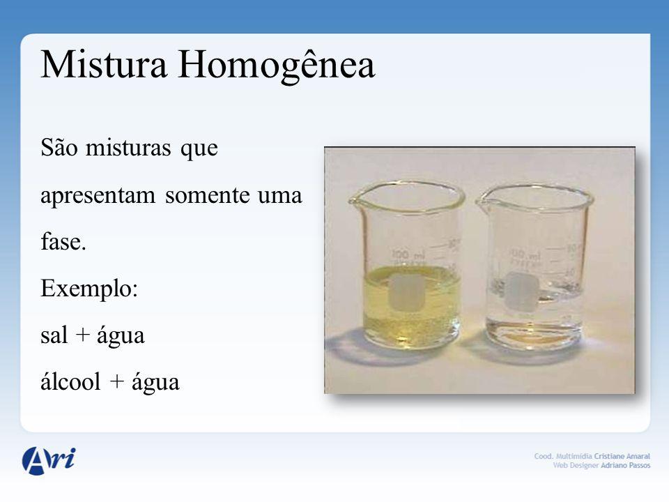 Mistura Heterogênea São misturas que apresentam duas ou mais fases.