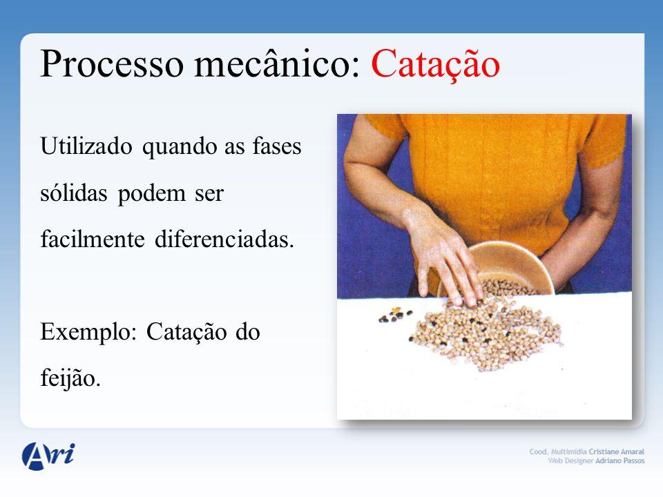 Processo mecânico: Peneiração Usado para separar sólidos granulados com partículas de tamanho diferentes.