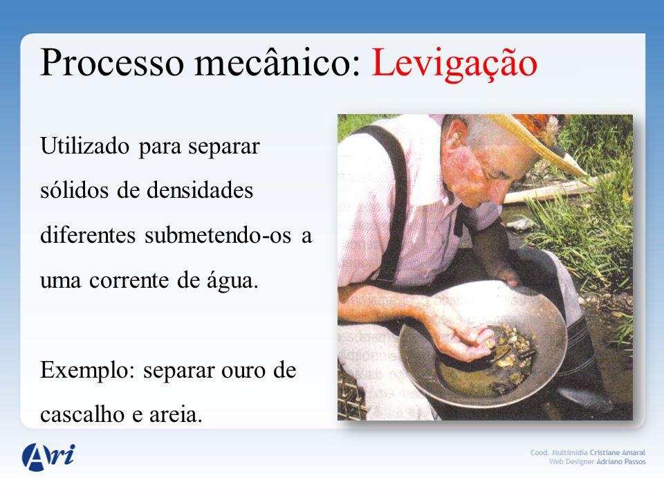 Processo mecânico: Flotação Usado na mineração.