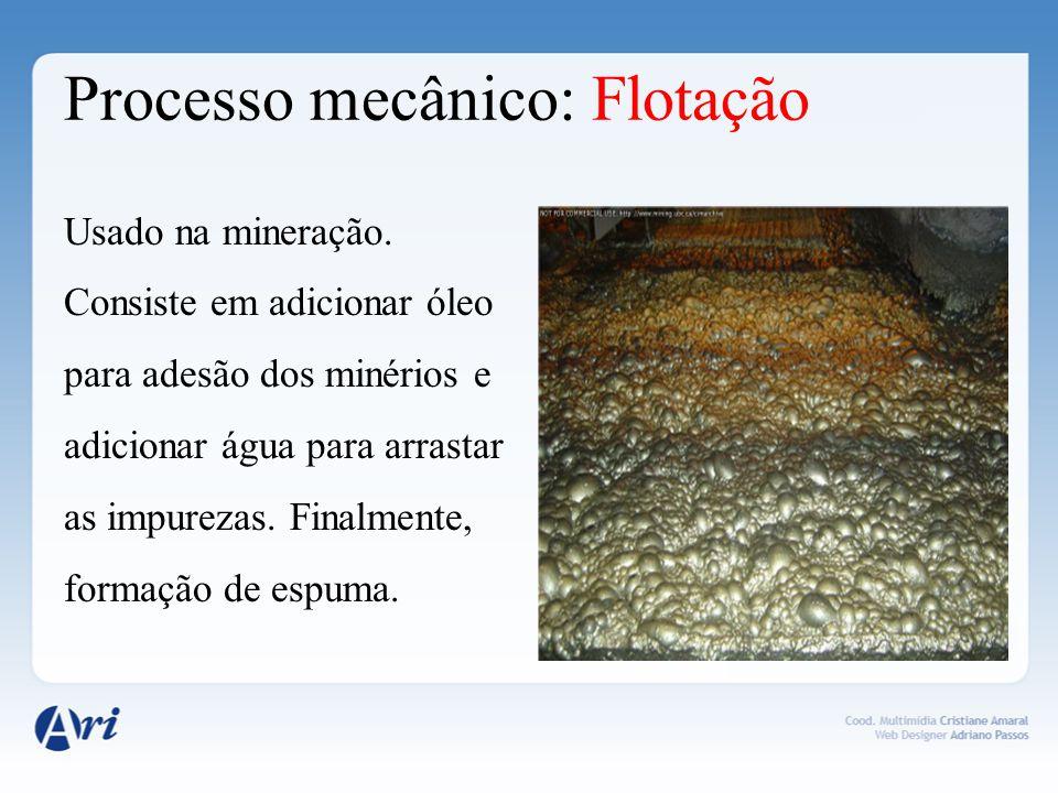 Processo mecânico: Filtração comum Utilizada para separar um líquido de um sólido não dissolvido.