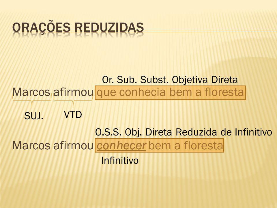 Marcos afirmou que conhecia bem a floresta Marcos afirmou conhecer bem a floresta SUJ. VTD Or. Sub. Subst. Objetiva Direta O.S.S. Obj. Direta Reduzida