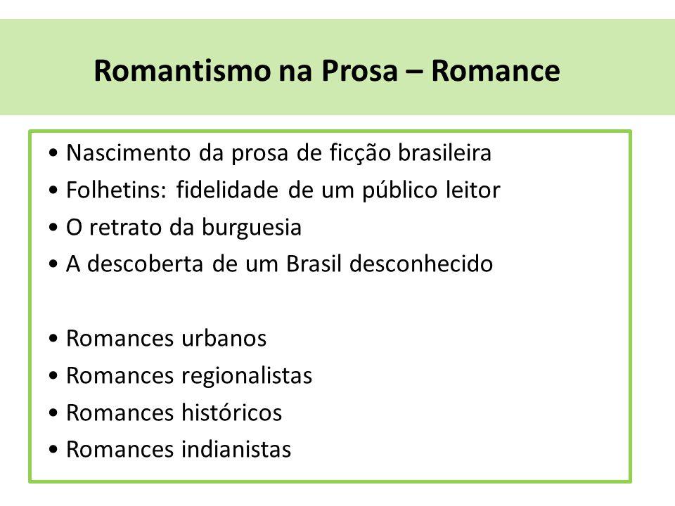 Romantismo na Prosa – Romance Nascimento da prosa de ficção brasileira Folhetins: fidelidade de um público leitor O retrato da burguesia A descoberta