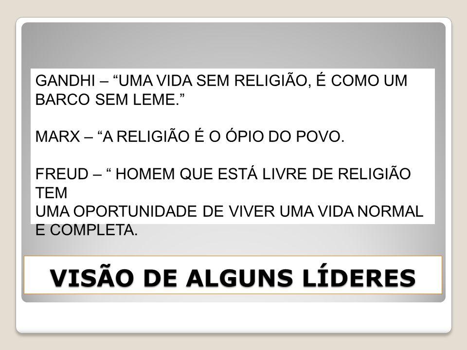VISÃO DE ALGUNS LÍDERES GANDHI – UMA VIDA SEM RELIGIÃO, É COMO UM BARCO SEM LEME. MARX – A RELIGIÃO É O ÓPIO DO POVO. FREUD – HOMEM QUE ESTÁ LIVRE DE