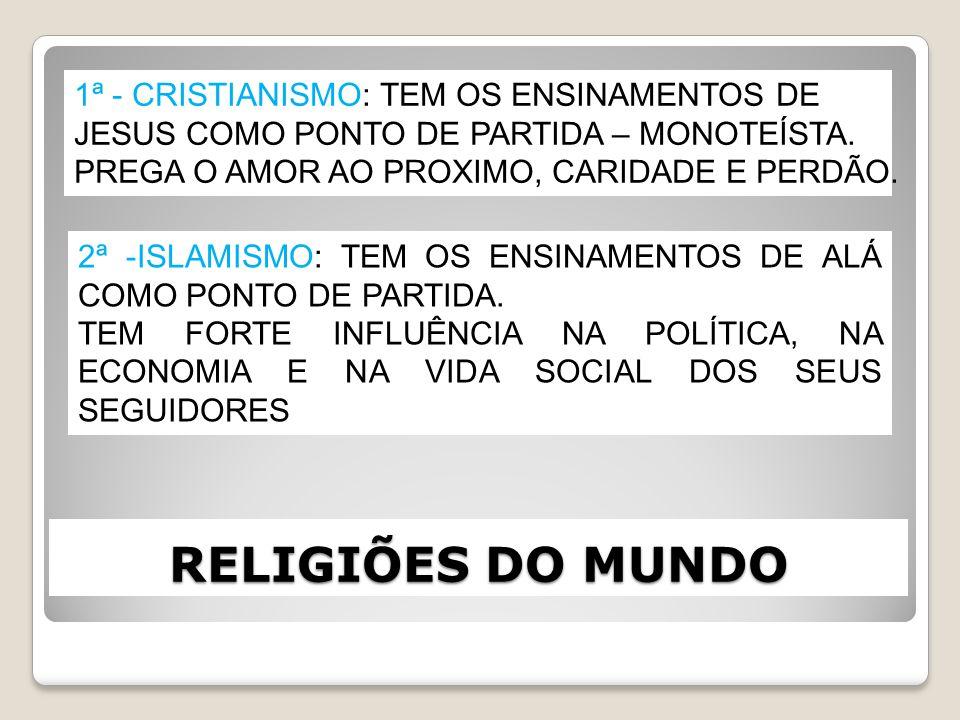 RELIGIÕES DO MUNDO 1ª - CRISTIANISMO: TEM OS ENSINAMENTOS DE JESUS COMO PONTO DE PARTIDA – MONOTEÍSTA. PREGA O AMOR AO PROXIMO, CARIDADE E PERDÃO. 2ª