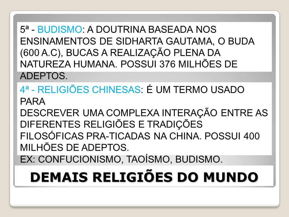 DEMAIS RELIGIÕES DO MUNDO 3ª - HINDUÍSMO: BASEADO NOS TEXTOS VEDAS, O HINDUÍSMO ABRANGE SEITAS E VARIAÇÕES MONOTEÍSTAS E POLITEÍSTAS, SEM UM CORPO ÚNICO DE DOUTRINAS OU ESCRITURAS.