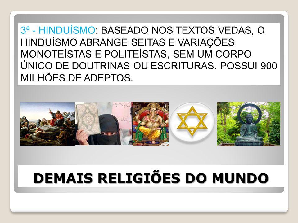 DEMAIS RELIGIÕES DO MUNDO 3ª - HINDUÍSMO: BASEADO NOS TEXTOS VEDAS, O HINDUÍSMO ABRANGE SEITAS E VARIAÇÕES MONOTEÍSTAS E POLITEÍSTAS, SEM UM CORPO ÚNI