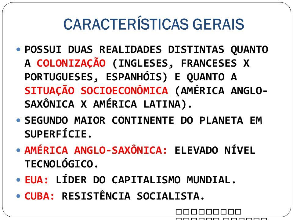 CARACTERÍSTICAS GERAIS POSSUI DUAS REALIDADES DISTINTAS QUANTO A COLONIZAÇÃO (INGLESES, FRANCESES X PORTUGUESES, ESPANHÓIS) E QUANTO A SITUAÇÃO SOCIOE