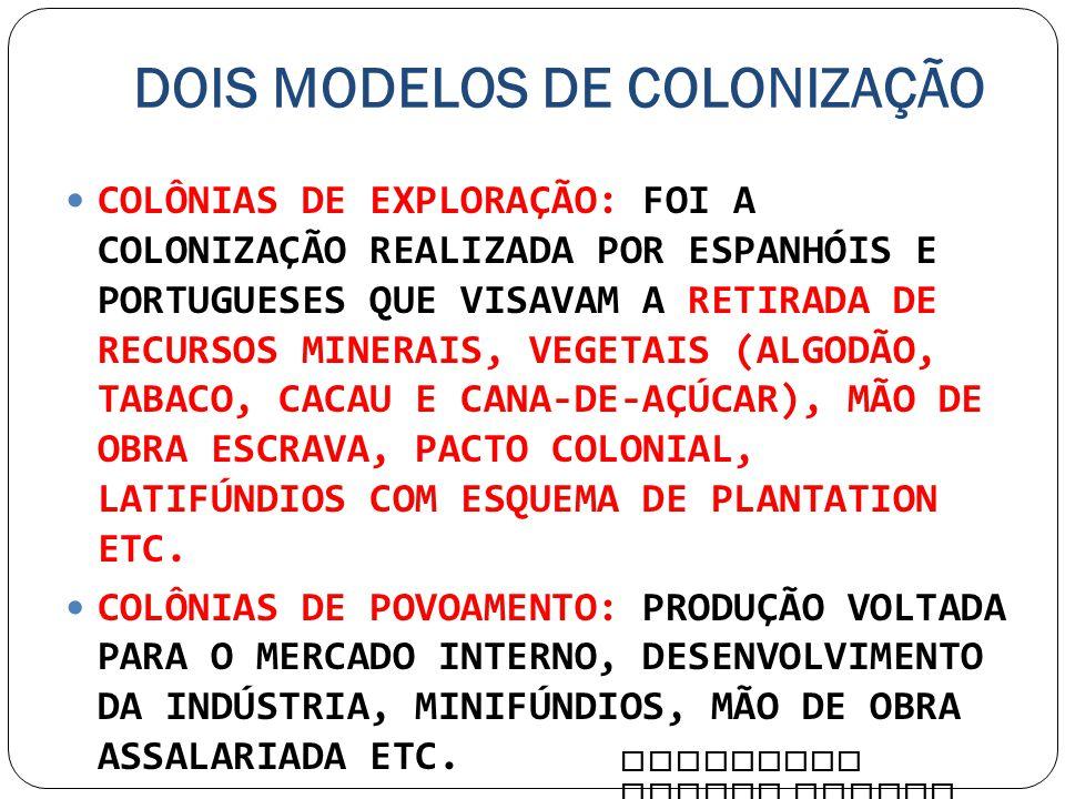 DOIS MODELOS DE COLONIZAÇÃO COLÔNIAS DE EXPLORAÇÃO: FOI A COLONIZAÇÃO REALIZADA POR ESPANHÓIS E PORTUGUESES QUE VISAVAM A RETIRADA DE RECURSOS MINERAI