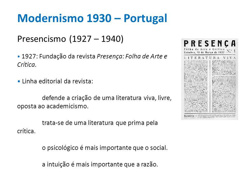 Modernismo 1930 – Portugal Presencismo (1927 – 1940) 1927: Fundação da revista Presença: Folha de Arte e Crítica. Linha editorial da revista: defende