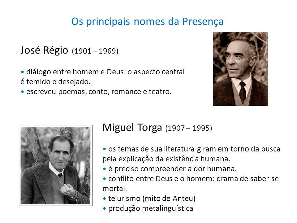Os principais nomes da Presença José Régio (1901 – 1969) diálogo entre homem e Deus: o aspecto central é temido e desejado. escreveu poemas, conto, ro