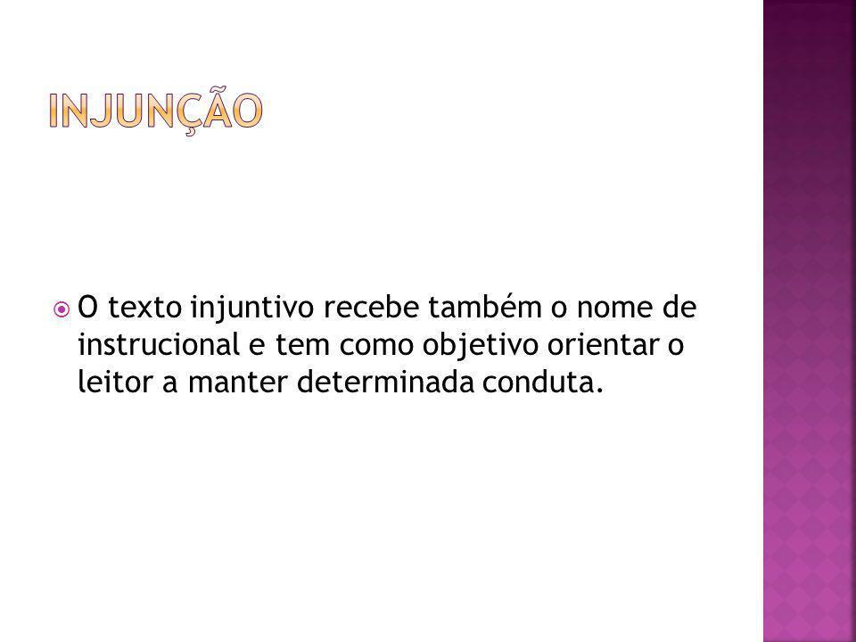 A injunção está presente em diversos tipos de texto: Anúncios publicitários Manuais de instrução Regras de jogo Regimentos bulas de remédio Receitas culinárias