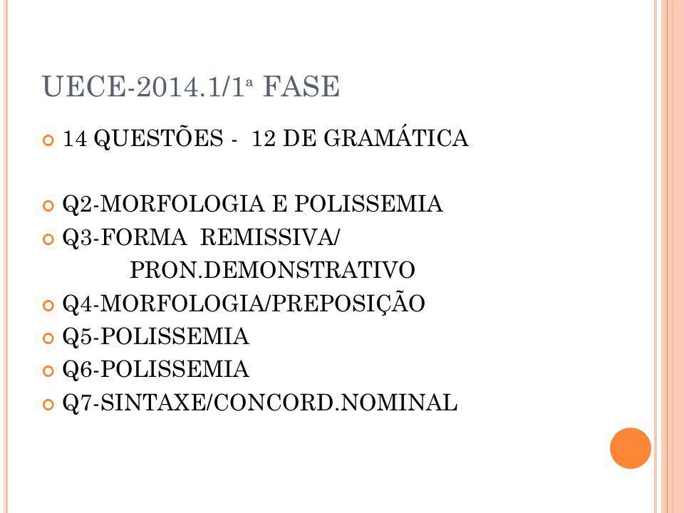 UECE-2014.1/1 ª FASE 14 QUESTÕES - 12 DE GRAMÁTICA Q2-MORFOLOGIA E POLISSEMIA Q3-FORMA REMISSIVA/ PRON.DEMONSTRATIVO Q4-MORFOLOGIA/PREPOSIÇÃO Q5-POLIS