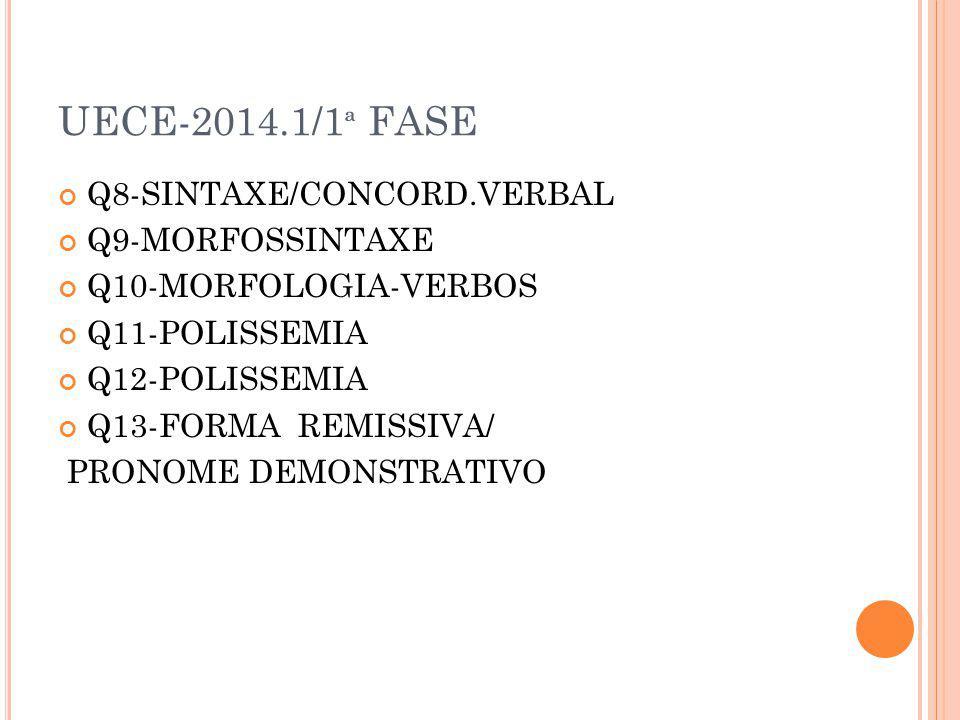 UECE-2014/2 ª FASE 20 QUESTÕES - 12 DE GRAMÁTICA Q2-POLISSEMIA Q3-POLISSEMIA Q5-ORAÇÕES Q6-RELAÇÕES SINTÁTICO-SEMÂNTICAS Q10-VERBOS Q11-POLISSEMIA Q12-POLISSEMIAS DE MÁXIMAS