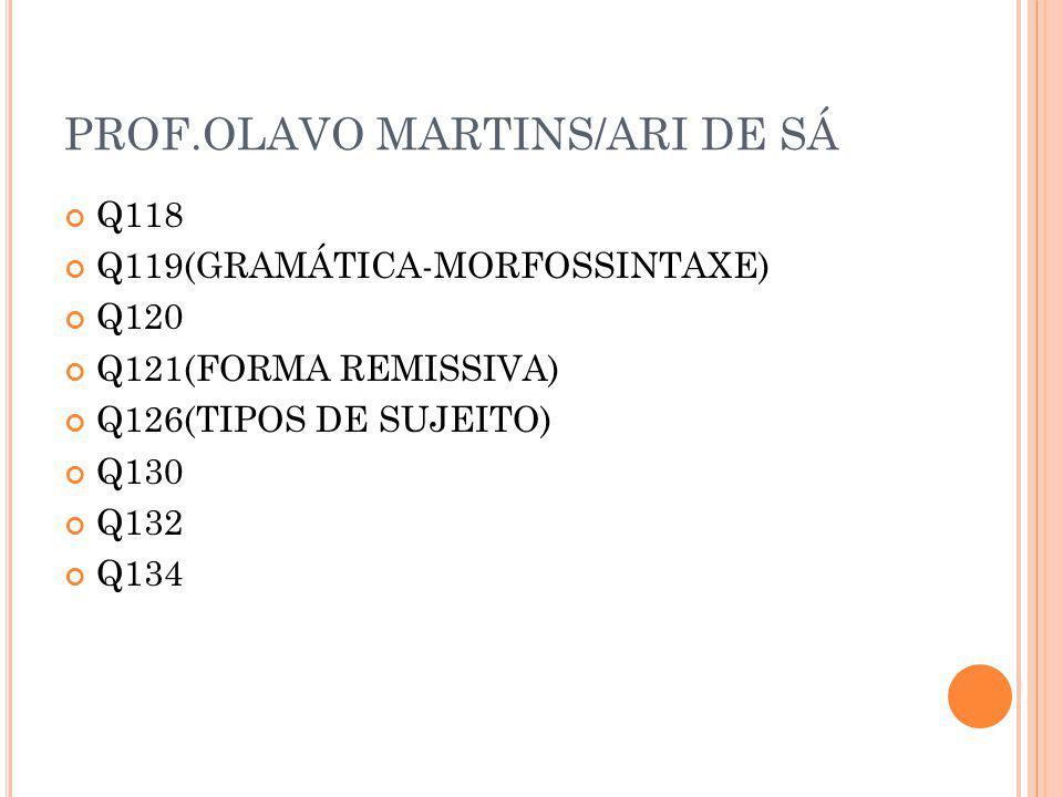 PROF.OLAVO MARTINS/ARI DE SÁ Q118 Q119(GRAMÁTICA-MORFOSSINTAXE) Q120 Q121(FORMA REMISSIVA) Q126(TIPOS DE SUJEITO) Q130 Q132 Q134
