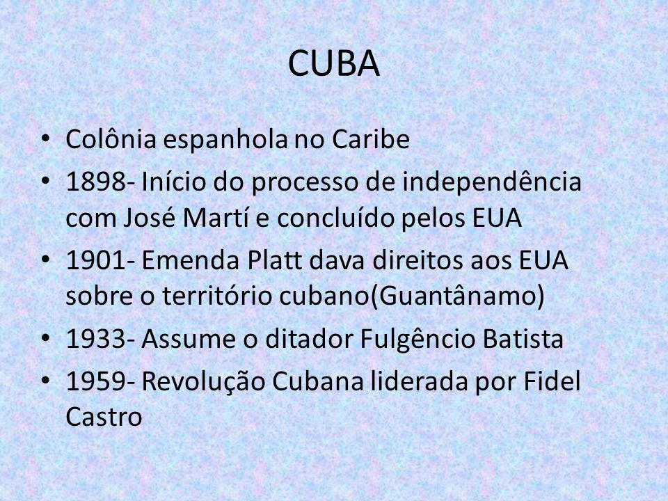 CUBA Colônia espanhola no Caribe 1898- Início do processo de independência com José Martí e concluído pelos EUA 1901- Emenda Platt dava direitos aos E