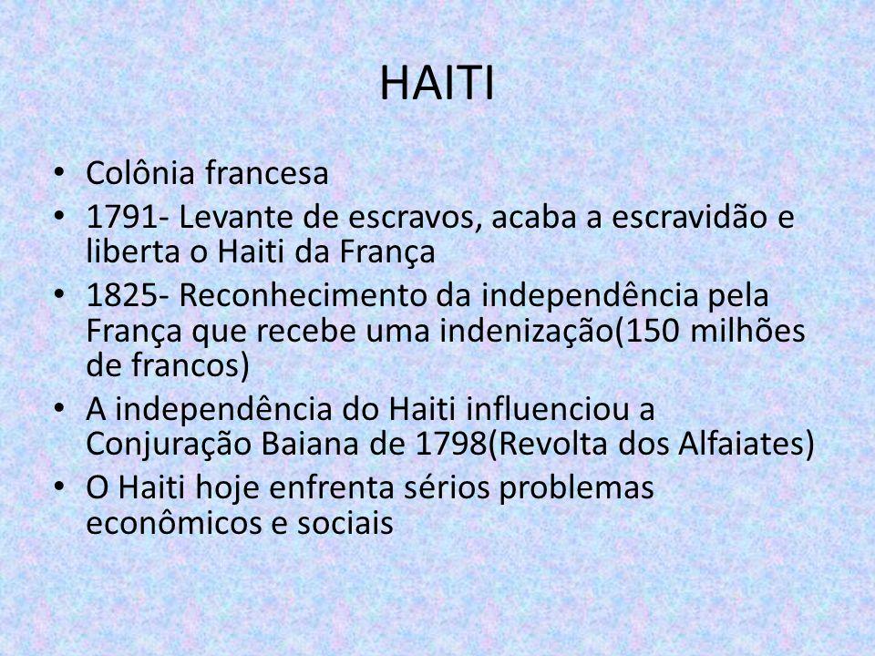 HAITI Colônia francesa 1791- Levante de escravos, acaba a escravidão e liberta o Haiti da França 1825- Reconhecimento da independência pela França que