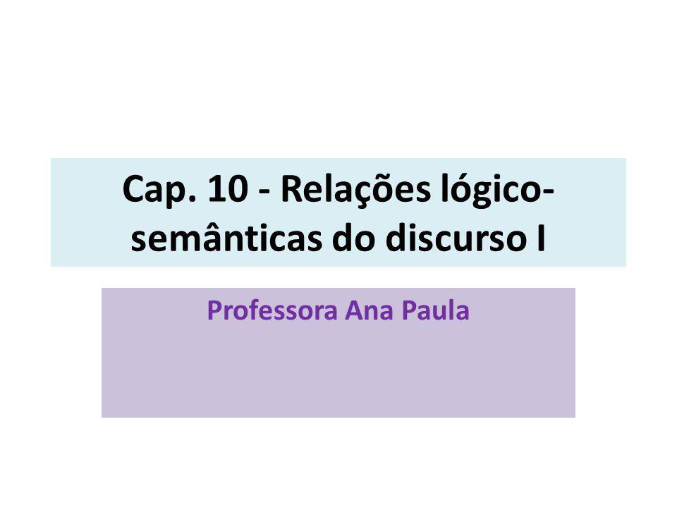 Cap. 10 - Relações lógico- semânticas do discurso I Professora Ana Paula