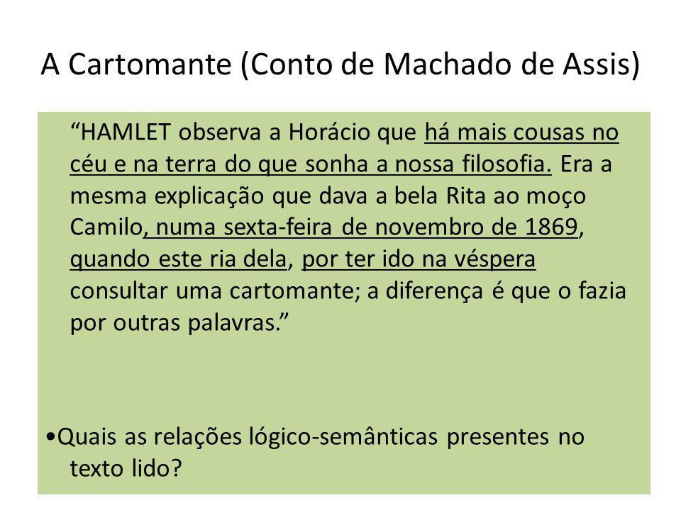 A Cartomante (Conto de Machado de Assis) HAMLET observa a Horácio que há mais cousas no céu e na terra do que sonha a nossa filosofia. Era a mesma exp