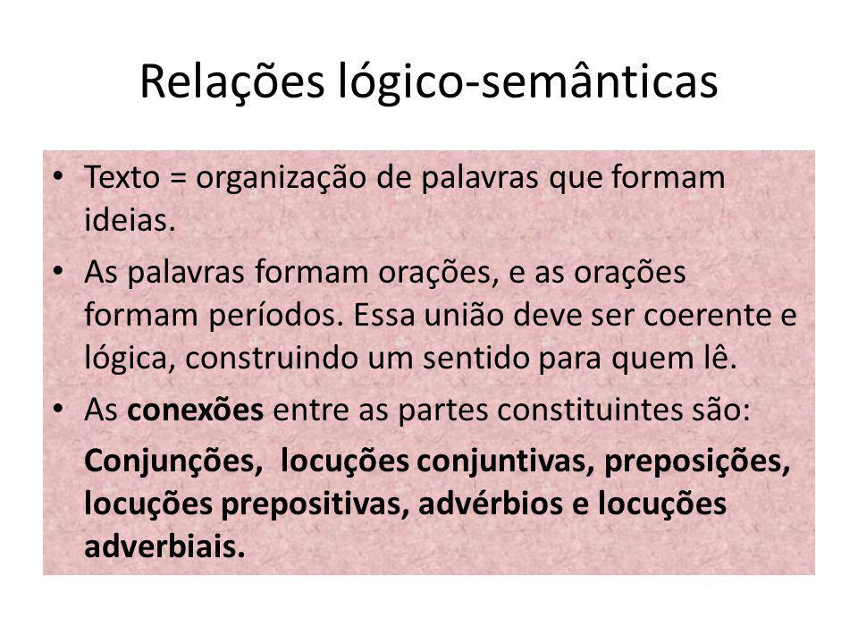Outras ideias As relações lógico-semânticas não se restringem aos termos de uma oração, elas também englobam: Períodos Parágrafos e outros blocos maiores.