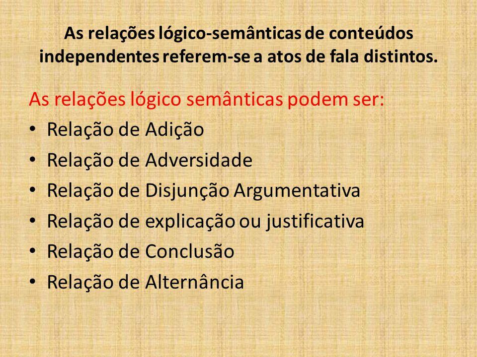 As relações lógico-semânticas de conteúdos independentes referem-se a atos de fala distintos. As relações lógico semânticas podem ser: Relação de Adiç