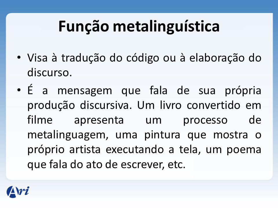 Função metalinguística Visa à tradução do código ou à elaboração do discurso. É a mensagem que fala de sua própria produção discursiva. Um livro conve