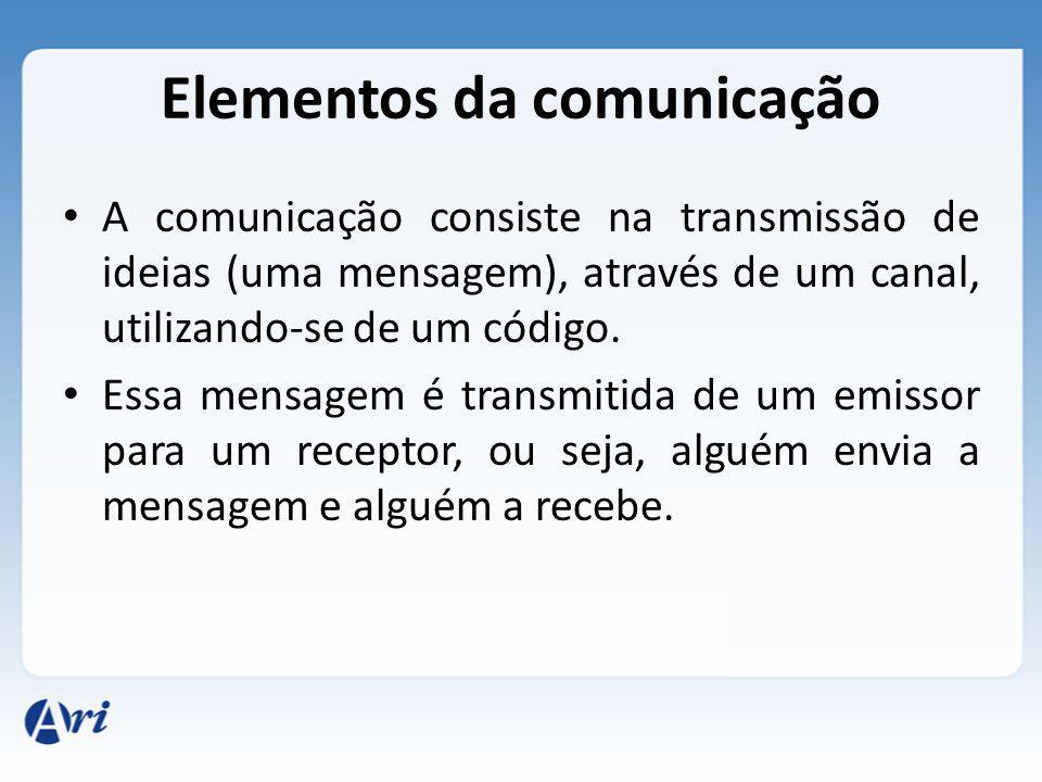Elementos da comunicação A comunicação consiste na transmissão de ideias (uma mensagem), através de um canal, utilizando-se de um código. Essa mensage