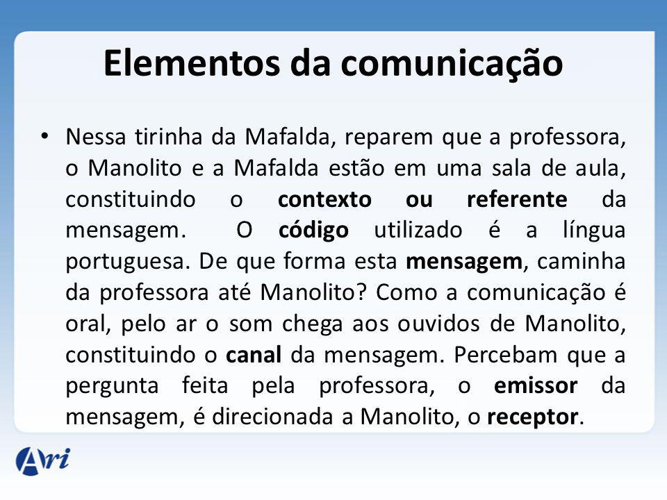 Nessa tirinha da Mafalda, reparem que a professora, o Manolito e a Mafalda estão em uma sala de aula, constituindo o contexto ou referente da mensagem