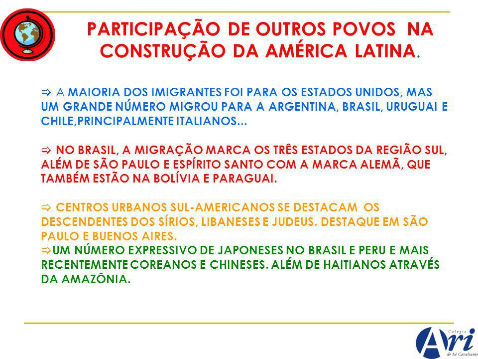 PARTICIPAÇÃO DE OUTROS POVOS NA CONSTRUÇÃO DA AMÉRICA LATINA.