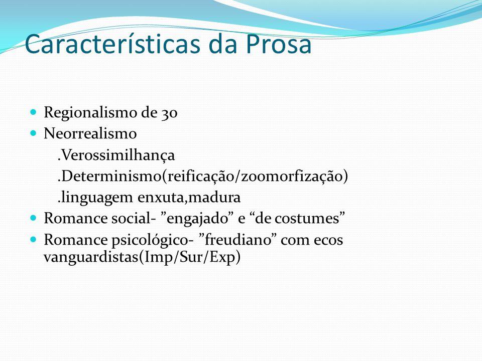 Características da Prosa Regionalismo de 30 Neorrealismo.Verossimilhança.Determinismo(reificação/zoomorfização).linguagem enxuta,madura Romance social