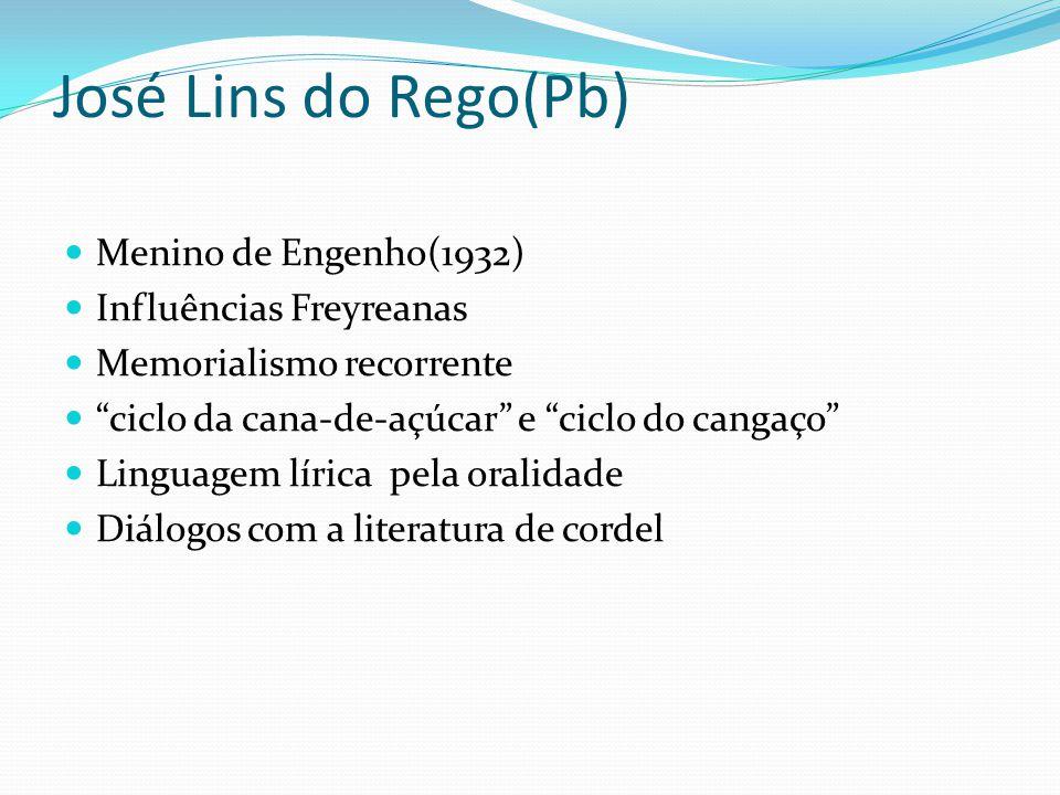 José Lins do Rego(Pb) Menino de Engenho(1932) Influências Freyreanas Memorialismo recorrente ciclo da cana-de-açúcar e ciclo do cangaço Linguagem líri