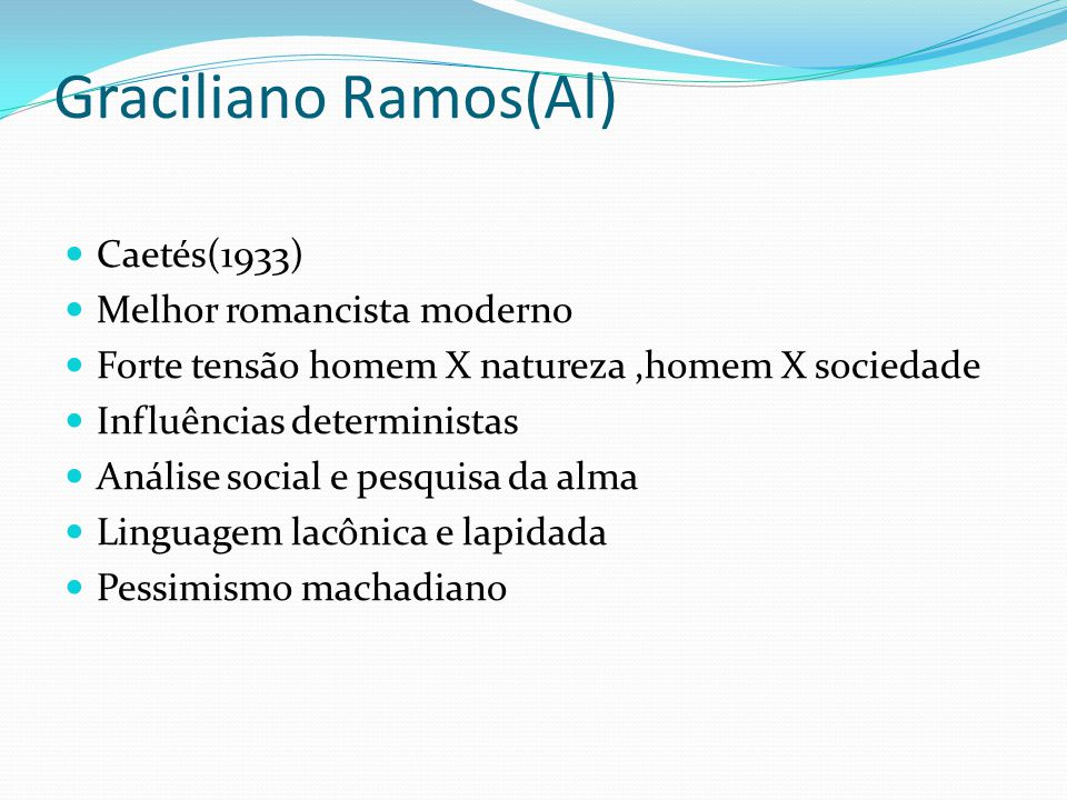 Graciliano Ramos(Al) Caetés(1933) Melhor romancista moderno Forte tensão homem X natureza,homem X sociedade Influências deterministas Análise social e
