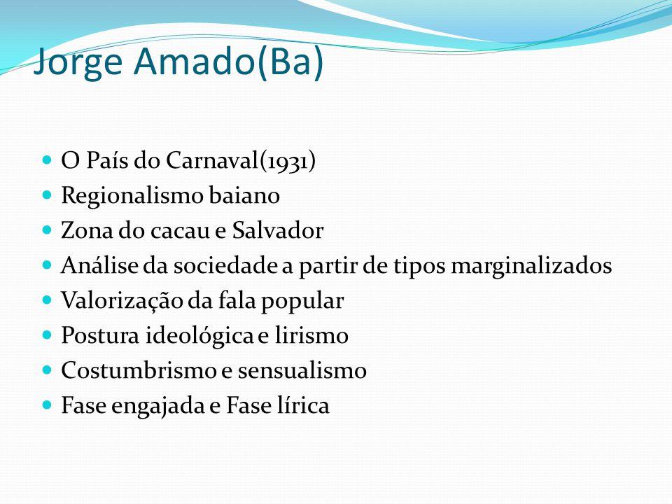 Jorge Amado(Ba) O País do Carnaval(1931) Regionalismo baiano Zona do cacau e Salvador Análise da sociedade a partir de tipos marginalizados Valorizaçã